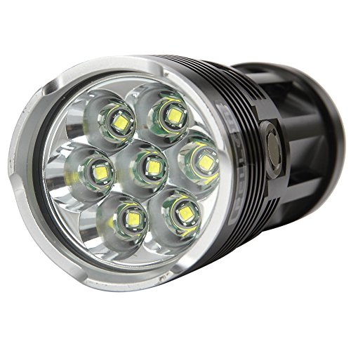 #Pellor 7x CREE XM-L T6 LED 8000 Lm Super Hell Outdoor LED Beleuchtung Taschenlampe Reisen Camping Lampe Beleuchtung 3 Modus 8000 Lumen mit Komplett-Set inkl. 4×18650 Akku und Ladegerät (Schwarz)#
