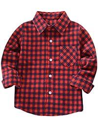 Hawkimin Kinder Jungen Mädchen Langarm Hemd Baumwolle T-Shirt überprüft Tops Bluse Kleidung Outfits