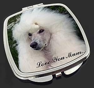 Weißer Pudel Hund 'Love You Mum' Make-up Taschenspiegel Weihnachtsgeschenk