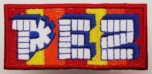 pez-logo-collectable-embroidered-iron-on-patch-for-jackets-bags-casesapprox374-95cm-x-approx-177-45c