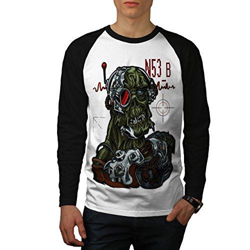 Spiel Legende Langen Ärmeln (Gamer Toter Mann Spielen Zombie schaurig androide Herren M Baseball lange Ärmel T-Shirt | Wellcoda)