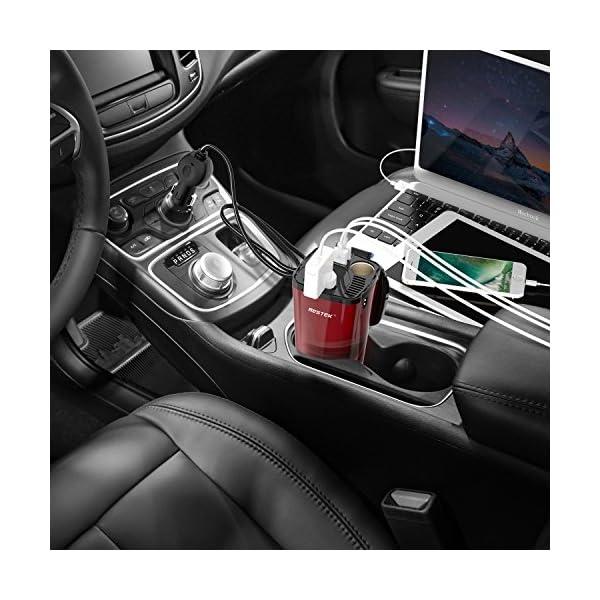 BESTEK 200W Power Inverter DC 12V to AC 230V 240V 3-in-1 Car Charger Cigarette Lighter Socket + AC Plug + Dual USB Charging Ports Voltage Converter 7