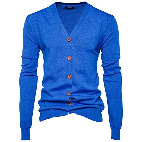 Preisvergleich Produktbild Swallowuk Herren Strickjacke Vintage Herbst Winter Warm Slim Fit Strickpullover Männer Jacke Mantel Open Cardigan V-Ausschnitt Sweatshirt Outwear Knitwear (L,  Blau)