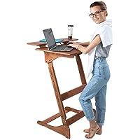 ALNETI Stehpult Stehtisch für Erwachsene Typ Dhu - Holz - Tisch höhenverstellbar - Gestell naturbelassen - Tischplatte…