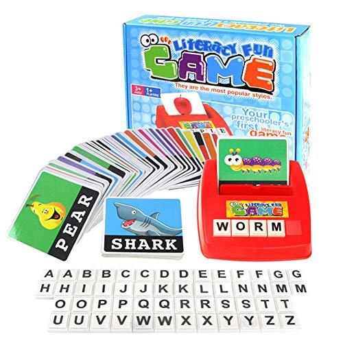 AngryMan Kinder-Englisch-Alphabetisierungskarte Schreibmaschine Desktop-Spiel Früherziehung Spielzeug mit 52 Buchstabenblöcken