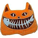 Missley Único Algodón Luminoso gato almohada Arrojar la almohada Cojín decorativo para el sofá Pez gato Que brilla en la noche (Orange)
