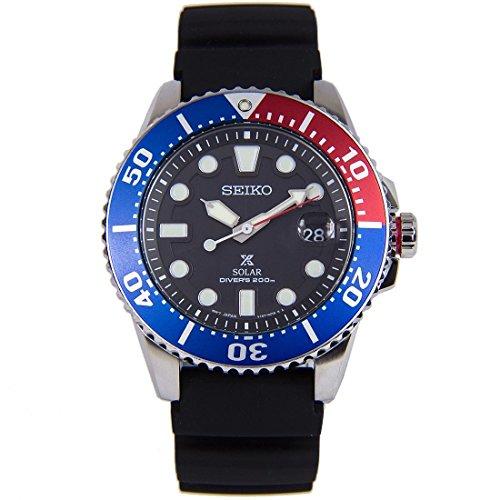 Seiko Herren Analog Solar Uhr mit Silikon Armband SNE439P1 - Herren Militär Uhr Seiko