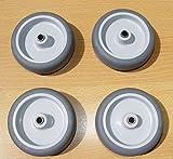 Räder Rollen Kunststoffrad Gummirad Transportrad Apparaterollenrad Grau Ø 75mm (4)