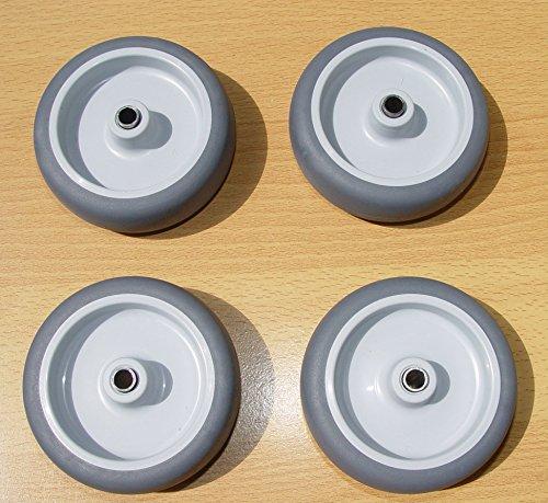 Räder Rollen Kunststoffrad Gummirad Transportrad Apparaterollenrad Grau Ø 75mm (4) (4-rad 22)