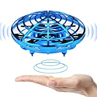 BOMPOW Kids Toys Hand Controlled Drone Boys Flying Toy with 2 Speed Models and LED Light, Blue