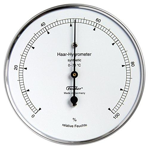 Haar-Hygrometer von Fischer, Synthetic, Serie Präzis, Edelstahlgehäuse 100mm, Artikel 122.01, Made in Germany