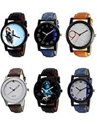 NIKOLA Best 3D Design Mahadev Black Blue And Brown Color 6 Watch Combo (B22-B37-B33-B61-B23-B40) For Boys And...