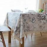 GY&H Leinen amerikanischen Stil ländlichen Tischdecken retro Spitze Kante Leben dekorative Tischdecke Deckel Handtuch,black, 140*220cm