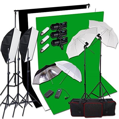 BPS Profi 900W Fotografie LED-Anzeige Studioblitz und 250W Dauerlicht Shirm Studio Set inkl. 3*300W Blitzlampen Synchronblitzlampe + 5500K 2x125W Dauerlicht Fotolampe + Schirm + Softboxen + Auslöser + 2 x 3m Hintergrundsystem + 1,8x 2.8m 100{6a1ecaea836887c0134811034016a517aa0ec8e0e6e9cb98eb7a480162213811} Baumwolle Hintergrundstoff Weiß Schwarz Grün Screen +Tragtasche