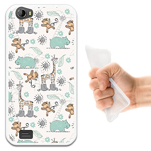 WoowCase Doogee T6 Hülle, Handyhülle Silikon für [ Doogee T6 ] Tiere Giraffe, AFFE & Nashorn Handytasche Handy Cover Case Schutzhülle Flexible TPU - Transparent