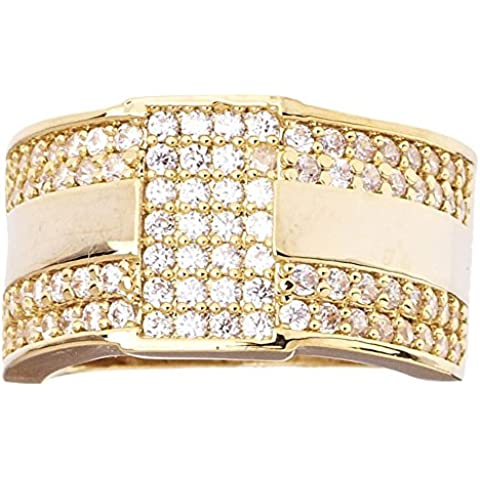Heló hacia fuera Bling Hip Hop diseñador anillo - Nueva York 15 mm oro