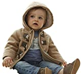 MissChild Baby Kinder Jungen Wintermantel mit Kapuze Steppjacke Winter Herbst Hooded Oberbekleidung Warm Fleece Duffle Mantel Braun Label 80