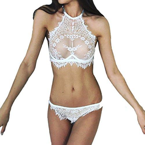 OYSOHE Mode Frauen Sexy Dessous, Spitze Blumen Push-Up Top-Bh Hosen Plus Größe Dessous Unterwäsche Set (S, Weiß) (Dessous-set Satin)