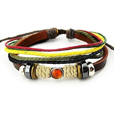 Véritable Spark Bracelet en cuir véritable Orange porte-bonheur Cristal Multicolore Corde Wrap Bracelet