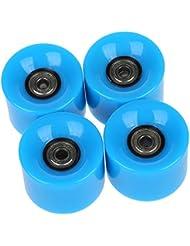 Ruedas de monopatin - SODIAL(R)Conjunto de 4 Ruedas de monopatin 6 cm de diametro y 4,5 cm de ancho para Penny azul