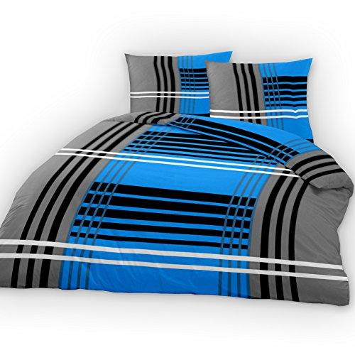 TOP Bettwäsche Garnitur 2-4 teilig Microfaser oder Baumwolle mit RV ✔135x200 ✔155x220 ✔200x200 (135x200cm Grey Line Baumwolle (4 tlg.)
