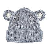zhouba Cute Baby Newborn Toddler Ohr Muster vertikale Streifen Strick Winter Warm Hat Cap