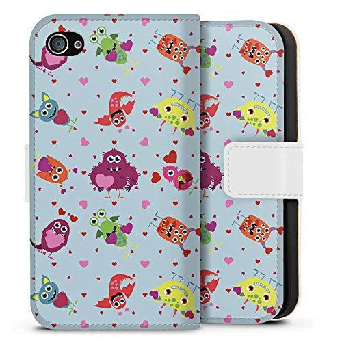 Apple iPhone X Silikon Hülle Case Schutzhülle Muster Monster Love Sideflip Tasche weiß