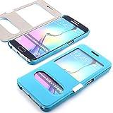 ScorpioCover Schutz Hülle mit Magnet Verschluss für Samsung Galaxy S5 Mini Double View Cover Sichtfenster Case hell blau/türkis