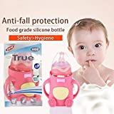 260 Ml Glass Feeding Bottle With Silicone Sleeve Protective Cover For Baby By Wishkey|9 Oz Nursing Bottle With Handle And Soft Silicone Nipple For Infants|BPA Free Anti-Colic Milk Feeding Pink Bottle|Breastfeeding Bottle For New Born