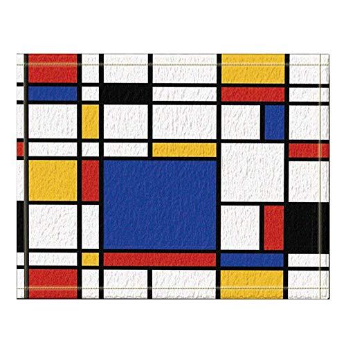 Aliyz Abstrakte geometrische Dekor, kontinuierliche replizierte Mondrian Badteppich, Rutschfeste Bodeneingänge Outdoor Indoor Haustürmatte, 60x40 cm Badematte Bad Teppiche