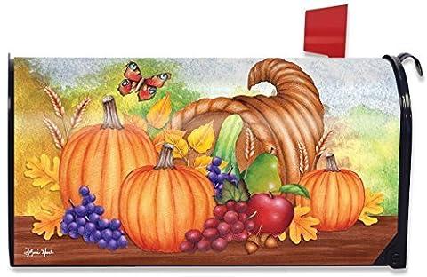 Horn Of Plenty Fall Mailbox Cover Thanksgiving Autumn Pumpkins Fruit