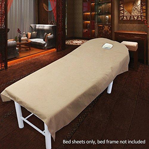 (Uxely Laken für Behandlungsliege mit Öffnung für Gesichtsausschnitt, weiches Laken für Beauty-Salon, Massage, Kosmetik-Salon, Spa, Massageliege, Bett, Tisch, Bezug, Laken mit Loch, Camel 120cmx190cm)