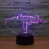 Table/Desk Night Lighing,Submachine Gun Modeling 3D Light Touch Remote Control Night Light Colorful Colorful Creative Kids Lamp Acrylic USB Halloween 3D LED Table Lamp Three-in-one