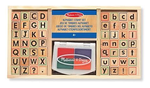 Melissa & Doug Wooden Alphabet Stamp Set - 56 Stamps