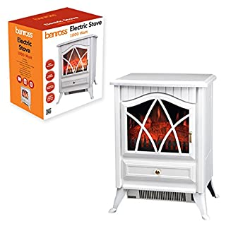 Benross 44240 Cast Iron Effect Fire Electric Stove, 1800 Watt, White