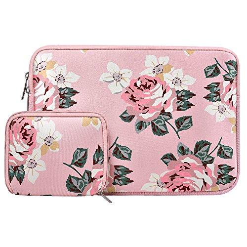 MOSISO Wasserabweisend Neopren Hülle Sleeve Tasche Kompatibel 13-13,3 Zoll MacBook Pro, MacBook Air, Notebook Computer Laptophülle Laptoptasche Notebooktasche mit Kleinen Fall, Rose Rosa (13 Macbook Pro In Fall Pink)