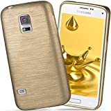 moex Samsung Galaxy S5 Mini | Hülle Silikon Gold Brushed Back-Cover TPU Schutzhülle Ultra-Slim Handyhülle für Samsung Galaxy S5 Mini Case Dünn Silikonhülle Rückseite Tasche