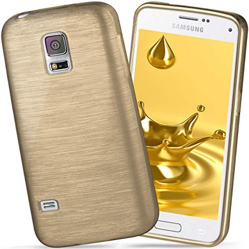 galaxy s5 mini gold moex Samsung Galaxy S5 Mini | Hülle Silikon Gold Brushed Back-Cover TPU Schutzhülle Ultra-Slim Handyhülle für Samsung Galaxy S5 Mini Case Dünn Silikonhülle Rückseite Tasche