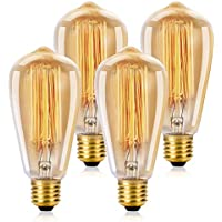 WEDNA Vintage Edison Light Bulb 40w Retro Old Fashioned ST64 E27 Screw 220V Tungsten Filament Glass Antique Lamp - 4 Pack