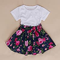 easyshop Maglietta di estate della neonata del bambino + dress gonna a pieghe floreale abiti