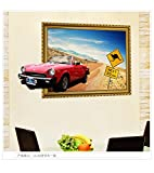 Smncnl Removable wall decals cartoon stickers for children, boys and girls rooms are small animal wallpaper black flawless fill hole posters ,3DClassic Cars