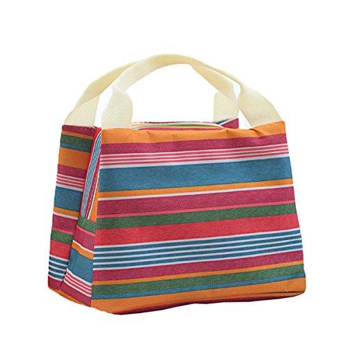 Babyicon Termoimbottiti Portable Stripe pranzo picnic Totes case box bag Pink&white Red