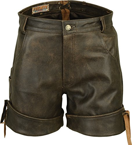 Kurze Ledershorts Braun, Kurze Lederhose Herren Damen, Trachten Lederhose Herren kurz, Damen Trachtenlederhose im Nappa Echtleder (44, Alt Braun)