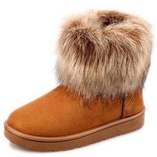 TAOFFEN Damen Classic Warm Flache Schuhe Stiefeletten Winter Fur Boots Winterstiefel Braun-3
