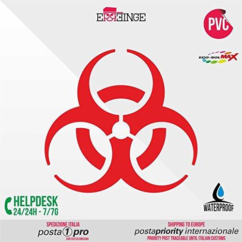 [ERREINGE] STICKER PRESPAZIATO ROSSO 10cm - Radiattivo Nucleare Veleno Biohazard - Adesivo Decal Decalcolmania Vinile Murale Laptop Auto Moto Casco Camper
