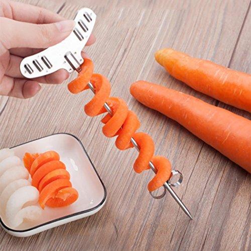 Y56 Spiralschneider Hand für Gemüsespaghetti, Edelstahl Rotierende Maschine Manuelle Magic Roller Spiral Slicer Rettich Kartoffel Spiralschneider für Karotte Gurke Kartoffel Kürbis Zucchini
