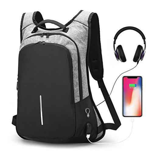19c19a54b Anti-theft Smart Laptop Backpack with USB Charging Port & Headphone Hole,  Professional Business