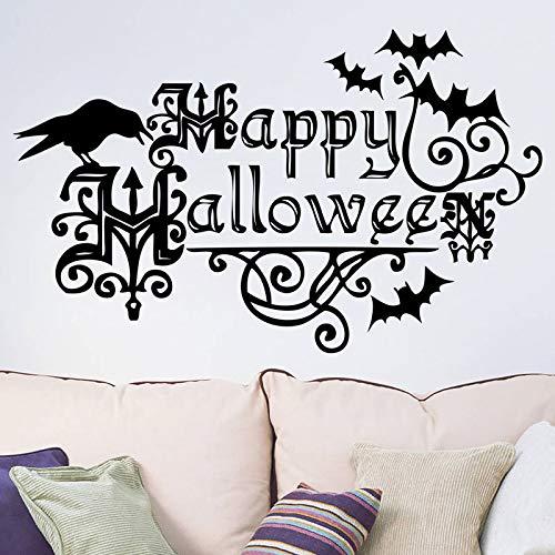 jiushizq Happy Halloween Wandtattoos Vinyl Kunst Aufkleber Kreative Vögel Fledermäuse Aufkleber Wohnkultur Wohnzimmer 74 x 118 cm