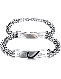 JewelryWe Bijoux 2PCS Real Love Bracelet Homme Femme Set Amour d\u0027Amitie  Cadeau Saint Valentin