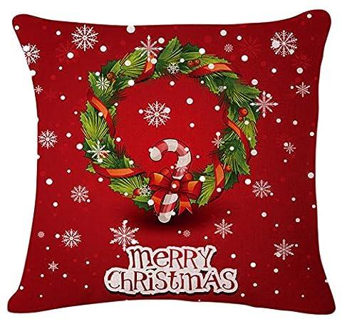 Da.Wa Baumwoll Leinen Square Taille Throw Kissenbezug Sofa Kissenbezug Frohe Weihnachten Home Dekorative Kranz Red 18 X 18inch